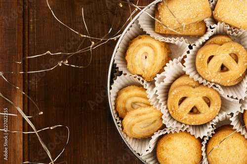 An Overhead Closeup Photo Of Danish Butter Cookies In The