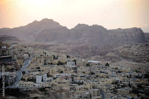 Foto op Plexiglas Grijs panoramic view of wadi musa town, near Petra archaeological site in jordan
