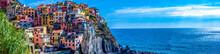 Panoramic View Of Colorful Cityscape On The Mountains Over Mediterranean Sea, Cinque Terre, Italy