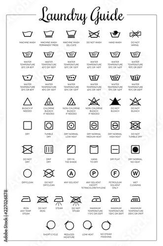 Fototapeta Laundry Guide vector icons, symbols collection obraz
