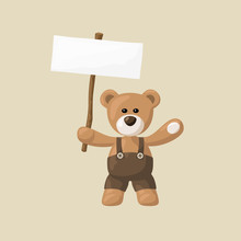 Teddy Bear With White Signboard