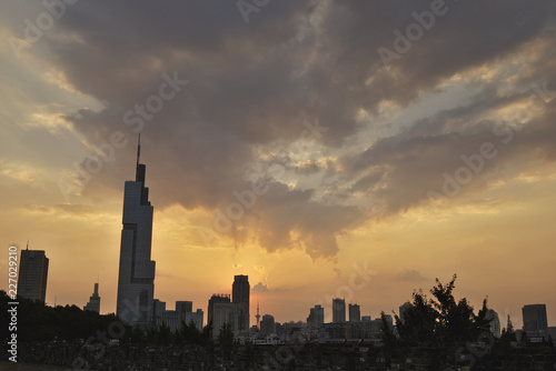 Poster Cracovie Nanjing Cityscape during Sunset