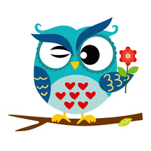 Blue Owl Sitting On A Branch With Flower, Abstract Background, Cartoon Character Isolated On White Vector Illustration EPS 10
