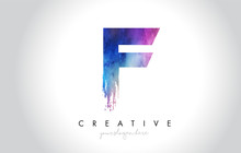 F Paintbrush Letter Design With Watercolor Brush Stroke And Modern Vibrant Colors