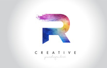 R Paintbrush Letter Design With Watercolor Brush Stroke And Modern Vibrant Colors