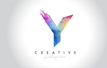 Y Paintbrush Letter Design With Watercolor Brush Stroke And Modern Vibrant Colors