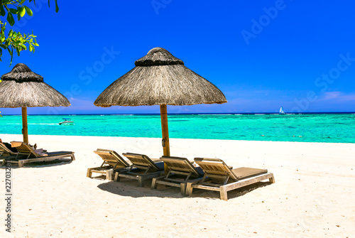 relaxing tropical holidays - beach chairs and umbrellas in white sandy beach of Mauritius island