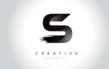 S Letter Design With Brush Stroke And Modern 3D Look.