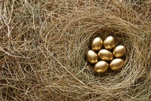 Golden Eggs In Nest. Straw Background