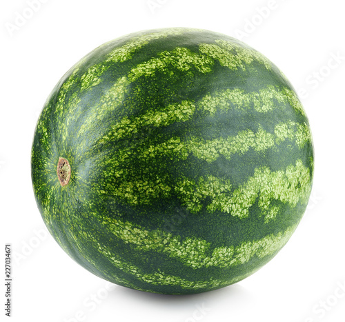 Whole fresh watermelon isolated on white