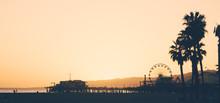 Santa Monica Beach And Pier At Sunset