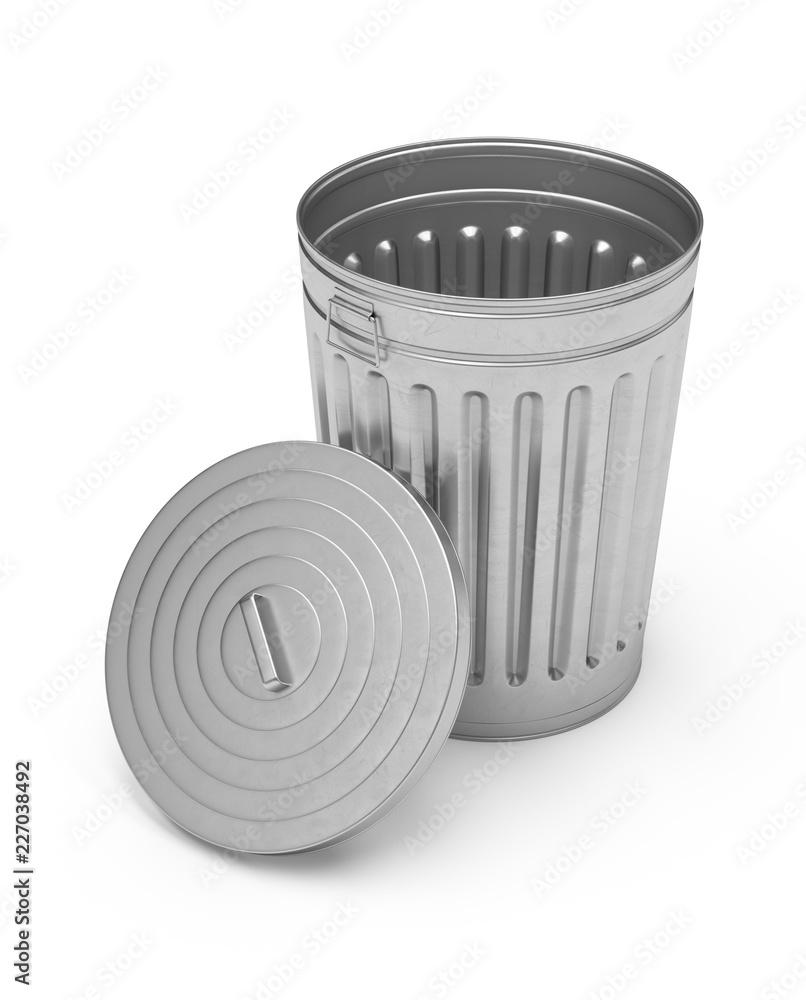 Fototapeta 3D Rendering steel trash can isolated on white background