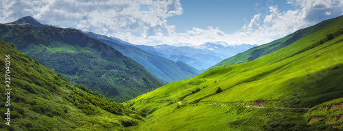 Aluminium Prints Green blue Vibrant mountain landscape. Green meadows on the high hills in Georgia, Svaneti region. Panoramic view on grassy highlands on sunny summer day. Caucasus mountains. Idyllic nature. Alpine valley