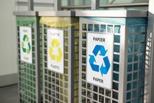 Recycling Concept. Bins For Different Garbage. Waste Management Concept. Waste Segregation. Separation Of Waste On Garbage Cans. Sorting Waste For Recycling. Disposal Waste. Colored Bins With Trash.