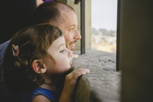 Czechia, Prague, Little Girl And Her Father Looking At View From The Old Town Hall