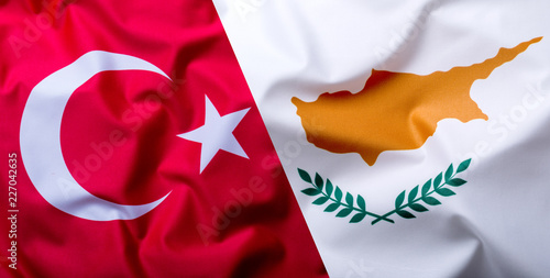 Foto op Canvas Cyprus Flags of the Turkey and Cyprus.