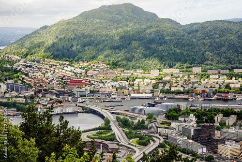 Staande foto Scandinavië Bergen, Norway, Bridge. Bergen is a city on seven hills. The bridge with a beautiful interchange adorns this ancient city .
