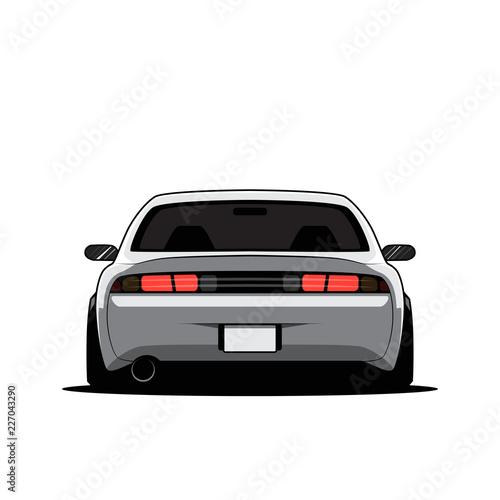 Cartoon japan tuned car isolated. Back view. Vector illustration Canvas Print