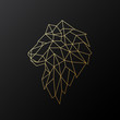 Golden polygonal Lion illustration isolated on black background. Geometric animal emblem. Vector illustration.