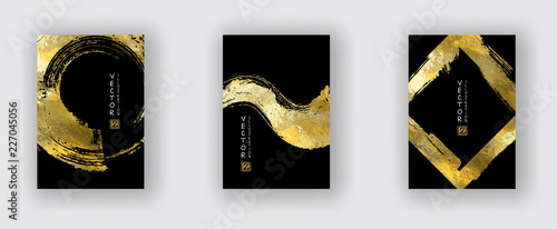 Photo Vector Black and Gold Design Templates set