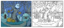 Scary Old Tree With Tied Pumpkins In An Old Abandoned Cemetery With Crypts Linear Drawing Color And Outlined For Coloring