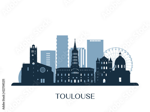 Toulouse skyline, monochrome silhouette. Vector illustration.