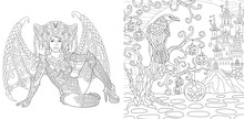 Coloring Pages With Halloween Angel Or Witch And Raven Bird