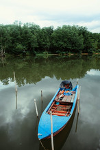 Thailand Colourful Wooden Fishing Boat In Tropical Canal With Mangrove Forest