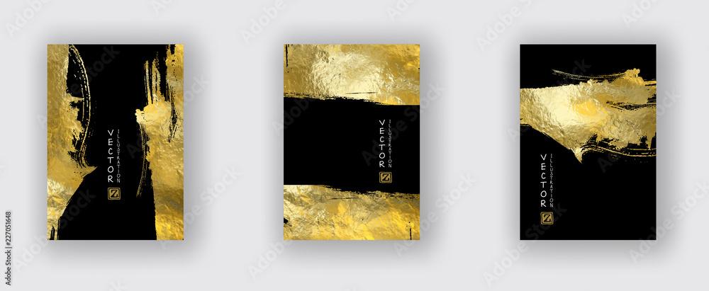 Fototapeta Vector Black and Gold Design Templates set