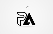 Black And White Alphabet Letter Pa P A Logo Icon Design