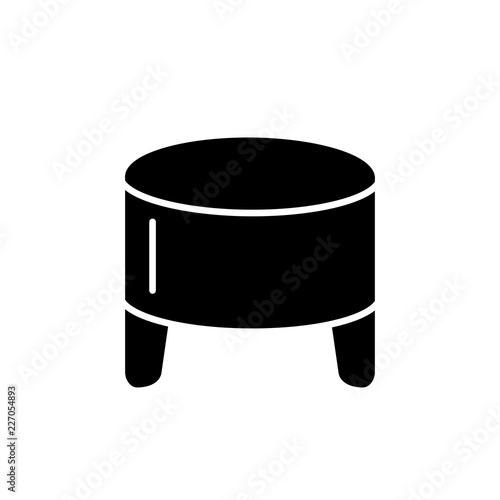 Enjoyable Black White Vector Illustration Of Round Leather Ottoman Gmtry Best Dining Table And Chair Ideas Images Gmtryco