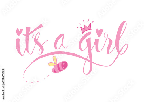 Fotografía  It's a girl lettering. Baby shower design card for invitation