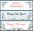 Christmas horizontal banners or flyers set. Vector floral decoration elements.