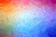 Illustration Of Blue And Red Impressionist Impasto Horizontal Background.