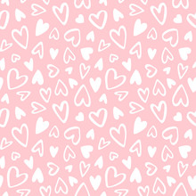 Cute Doodle Style Hearts Seamless Vector Pattern. Valentine's Day Handwritten Background. Marker Drawn Different Heart Shapes And Silhouettes. Hand Drawn Ornament.