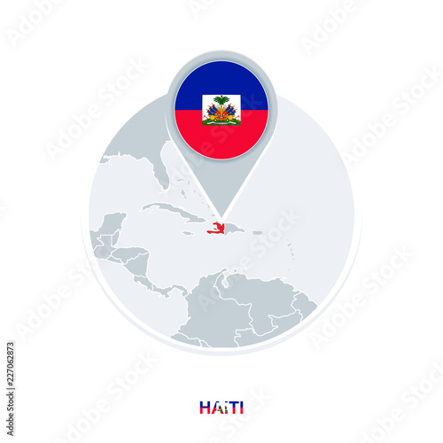 Tablou Canvas Haiti map and flag, vector map icon with highlighted Haiti