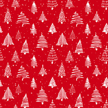Christmass Tree Seamless Pattern. Hand Drawn Doodle Sketch Drawing With Ink.