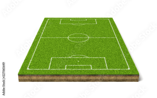 Fotografie, Obraz  3d rendering of a soccer grass sport field with white lines