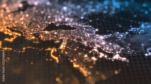 dark earth map with glowing details of city and human population density areas Tablou Canvas
