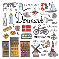 Denmark symbols and cute icons illustrations. Hand drawn Denmark and Copenhagen objects outline color drawings. Travel elements collection