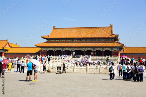 Tourists visiting the famous Forbidden City in Beijing, China