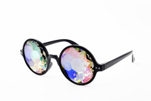 Glasses Kaleidoscopes Hologram White Background Isolated.