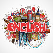 Word ENGLISH on white background with england elements and objects - educational and travelling concept. Vector fun cartoon illustration with word English and national objects. Set of Fun cartooning