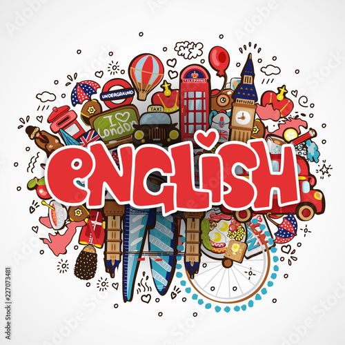 Fototapeta Word ENGLISH on white background with england elements and objects - educational and travelling concept. Vector fun cartoon illustration with word English and national objects. Set of Fun cartooning obraz