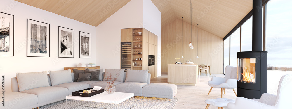 Fototapeta new modern scandinavian loft apartment. 3d rendering