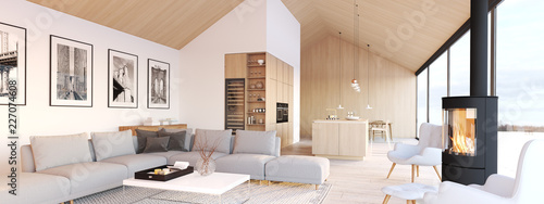 Obraz new modern scandinavian loft apartment. 3d rendering - fototapety do salonu