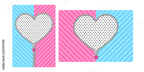 Open Heart Zipper With Cute Lock On Bright Blue Pink Background