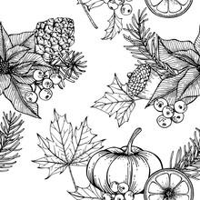 Christmas Pattern Seamless Background. With Poinsettia,  Pine Corn, Orange, Maple Leaf, Holly, Berries, Oak, Pumpkin Illustration.