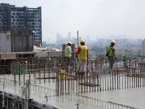 KUALA LUMPUR, MALAYSIA -AUGUST 27, 2018: Concreting work by