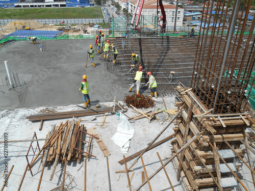 KUALA LUMPUR, MALAYSIA -AUGUST 27, 2018: Concreting work by